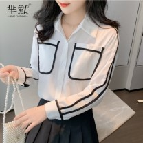 Lace / Chiffon Autumn 2020 White, collect and give gifts S,M,L,XL,2XL Long sleeves commute Cardigan singleton  Straight cylinder Super short Polo collar Solid color routine Korean version 91% (inclusive) - 95% (inclusive) polyester fiber