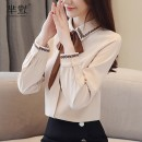 Lace / Chiffon Autumn of 2019 Apricot, red S,M,L,XL,2XL Long sleeves Versatile Socket singleton  Self cultivation Regular Polo collar Solid color shirt sleeve 96% and above nylon