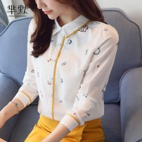 Lace / Chiffon Spring 2020 white S,M,L,XL,2XL Long sleeves commute Cardigan singleton  Straight cylinder Regular Polo collar Decor shirt sleeve Other / other Print, button