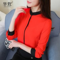 Lace / Chiffon Autumn of 2019 White, red, yellow S,M,L,XL,2XL,3XL Long sleeves commute Cardigan singleton  Straight cylinder Super short stand collar Solid color routine Other / other lady 96% and above