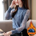 Lace / Chiffon Winter 2020 Blue (plush and thickened), blue (spring and autumn thin), collect and give gifts [don't choose this] S,M,L,XL,2XL Long sleeves Sweet Socket singleton  Self cultivation Regular stand collar Solid color routine 96% and above nylon princess