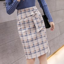 skirt Winter 2020 S,M,L,XL,2XL Black and white check , Light yellow check , Collect and give gifts Short skirt High waist