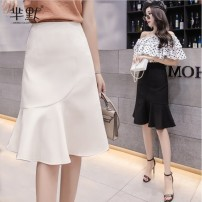 skirt Summer of 2018 S. M, l, XL, 2XL, gift collection Black, apricot commute High waist Ruffle Skirt Solid color Type A 18-24 years old 71% (inclusive) - 80% (inclusive) polyester fiber Ruffle, fold, asymmetry, zipper Korean version