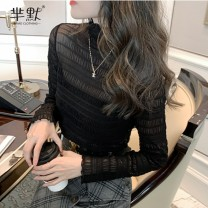 Lace / Chiffon Winter 2020 Apricot, black, coffee, army green, collect and give gifts [don't choose this] S,M,L,XL Long sleeves commute Socket singleton  Self cultivation Regular High collar routine Korean version