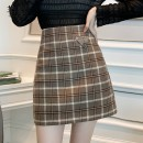 skirt Winter 2020 S,M,L,XL Gag , Black and white , Collect and give gifts Short skirt commute High waist A-line skirt Korean version