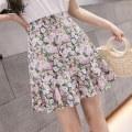 skirt Summer 2020 S,M,L,XL Short skirt Natural waist Broken flowers Chiffon polyester fiber