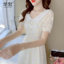 Dress Summer 2020 Apricot, collect and give gifts S,M,L,XL Miniskirt singleton  Short sleeve commute Doll Collar Loose waist Solid color Socket Type A lady Embroidery 51% (inclusive) - 70% (inclusive) cotton