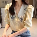 Lace / Chiffon Summer 2020 White, beige, collect and give gifts S,M,L,XL,2XL Short sleeve commute Socket singleton  Straight cylinder Super short other puff sleeve Embroidery Korean version