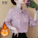 Lace / Chiffon Autumn of 2019 Apricot [Plush], pink [Plush] S,M,L,XL,2XL Long sleeves commute Socket singleton  easy Super short Doll Collar routine Other / other Korean version 71% (inclusive) - 80% (inclusive) polyester fiber