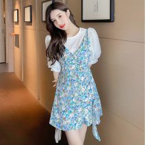 Dress Summer 2021 Green flowers, yellow flowers S,M,L,XL Short skirt Two piece set Short sleeve commute Crew neck High waist Broken flowers Socket A-line skirt puff sleeve Others 25-29 years old Type A Ol style 51% (inclusive) - 70% (inclusive) other