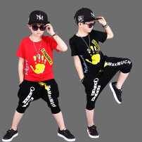 T-shirt Print palm Summer [black], print palm Summer [red], lightning black suit, lightning white suit Other / other The recommended height is 100cm for Size 110, 110cm for Size 120, 120cm for Size 130, 130cm for size 140, 140cm for size 150 and 150cm for size 160 male summer Short sleeve cotton