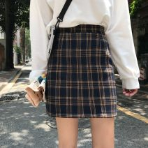 skirt Spring of 2019 S,M,L White on black, yellow on blue Short skirt commute High waist A-line skirt lattice Type A 18-24 years old 31% (inclusive) - 50% (inclusive) Other / other polyester fiber Korean version