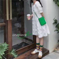 Dress Summer 2021 white Average size Mid length dress singleton  Long sleeves commute Crew neck High waist Solid color Socket Big swing puff sleeve Others 18-24 years old Type A Korean version fold 31% (inclusive) - 50% (inclusive)