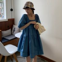 Dress Summer 2021 blue Average size Mid length dress singleton  Short sleeve commute square neck Loose waist Socket A-line skirt puff sleeve Others 18-24 years old Type A Korean version 31% (inclusive) - 50% (inclusive)