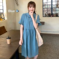 Dress Summer 2021 White, purple, blue, bean green, pink Average size Mid length dress singleton  Short sleeve commute Polo collar High waist Solid color Socket other puff sleeve Others 18-24 years old Type A Korean version 31% (inclusive) - 50% (inclusive)