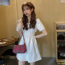Dress Summer 2021 White, black, purple @ 03065 Average size Mid length dress singleton  Short sleeve commute square neck Elastic waist Solid color Socket A-line skirt routine Others 18-24 years old Type A Korean version 31% (inclusive) - 50% (inclusive) polyester fiber