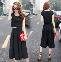 Dress Summer 2021 Pink suit, black suit, grey suit, single top S,M,L,XL,2XL,3XL Two piece set Short sleeve commute Crew neck High waist Solid color Socket routine Others 18-24 years old Type H Other / other bow 71% (inclusive) - 80% (inclusive) Chiffon