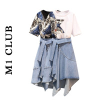 Fashion suit Summer 2021 M [recommended 90-100 kg], l [recommended 100-115 kg], XL [recommended 115-135 kg], 2XL [recommended 135-150 kg], 3XL [recommended 150-165 kg], 4XL [recommended 165-180 kg] Black jacket, white jacket, denim skirt, black two-piece suit, white two-piece suit 25-35 years old
