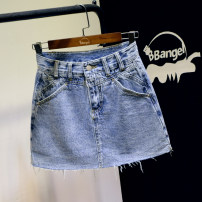 skirt Summer 2021 S,M,L,XL blue Short skirt commute High waist A-line skirt Solid color Type A Denim cotton Tassels, pockets, rags, buttons, zippers, stitching Korean version