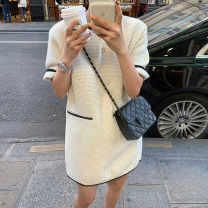 Dress Summer 2021 Off white, black S,M,L,XL Middle-skirt singleton  Short sleeve commute Crew neck Loose waist Solid color Socket A-line skirt routine Type H Simplicity Pockets, stitching 81% (inclusive) - 90% (inclusive) brocade nylon