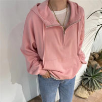 Sweater / sweater Spring 2021 Pink Average size Long sleeves routine Socket singleton  routine Hood easy commute routine Solid color 25-29 years old 81% (inclusive) - 90% (inclusive) Korean version cotton cotton Cotton liner Single breasted