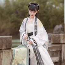 Hanfu 96% and above Spring 2021 Half sleeve shirt (black), half sleeve shirt (gray), cardigan, suspender, pleated skirt polyester fiber