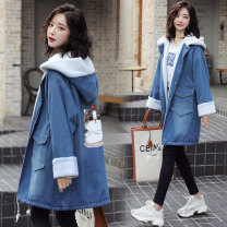 Women's large Autumn 2020 Windbreaker singleton  commute Straight cylinder thickening Cardigan Long sleeves Cartoon animation Korean version Medium length Cashmere routine Other / other 18-24 years old Three dimensional decoration 81% (inclusive) - 90% (inclusive) zipper