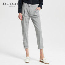 Casual pants Medium grey, beaver Brown yarn 165/72A,155/62A,155/64A,160/68A,160/66A,170/74A Summer of 2019 trousers Straight pants Natural waist commute routine 25-29 years old Me&City Simplicity