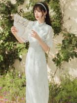 cheongsam Summer 2021 S,M,L Light green 3366#