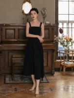 Dress Summer 2021 Black skirt piece S,M,L,XL Miniskirt singleton  Sleeveless commute square neck High waist lattice Socket A-line skirt routine Others Type A Retro Splicing 31% (inclusive) - 50% (inclusive) Chiffon