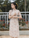 cheongsam Summer 2021 S,M,L Picture color Short sleeve long cheongsam Retro Solid color 18-25 years old Embroidery polyester fiber 51% (inclusive) - 70% (inclusive)