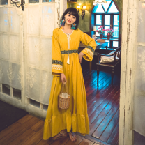 Dress Spring 2021 White, red, blue, yellow S,M,L,XL longuette singleton  Long sleeves commute V-neck High waist Solid color Socket A-line skirt routine Others Type A tassels other