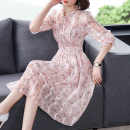 Dress Summer 2020 S,M,L,XL,2XL Mid length dress singleton  three quarter sleeve commute Lotus leaf collar middle-waisted Broken flowers Socket A-line skirt Petal sleeve Others Other / other lady Chiffon