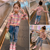 shirt Pink, Navy, pink, khaki, pink Other / other female The recommended height is about 100cm for Size 110, 110cm for Size 120, 120cm for Size 130, 130cm for size 140, 140cm for size 150 and 150cm for size 160 spring and autumn Long sleeves Korean version lattice cotton Lapel and pointed collar