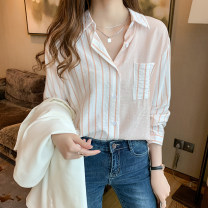 shirt S M L XL XXL Autumn 2020 other 96% and above Long sleeves commute Regular Polo collar Single row multi button routine stripe 18-24 years old Straight cylinder Xinshanmei Korean version Stitched pockets Other 100% Pure e-commerce (online only)