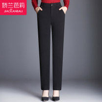 Middle aged and old women's wear Spring 2021 Pure black (900-1) without cashmere check (900-2) without cashmere pure black (999-1) with cashmere thickened check (999-2) with cashmere thickened fashion trousers Straight cylinder singleton  Decor 40-49 years old moderate JL17XK999 Gillian Barry pocket