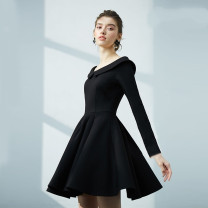 Dress Winter of 2019 Black 5-sleeve, black long sleeve, red long sleeve, collection add shopping cart, pay for transparent shoulder strap, black long sleeve add velvet XS,S,M,L,XL,2XL Middle-skirt singleton  elbow sleeve commute Doll Collar High waist Solid color zipper A-line skirt routine Others