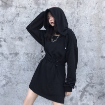 Dress Autumn of 2019 black S,M,L Short skirt singleton  Long sleeves commute Hood Elastic waist Solid color Socket routine 18-24 years old Other / other Embroidery, lace up 81% (inclusive) - 90% (inclusive) cotton