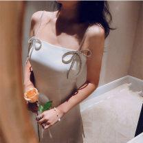 Dress Summer 2021 White, black XS,S,M,L Short skirt singleton  Sleeveless commute High waist Solid color Socket A-line skirt camisole 18-24 years old Type A Bows, ruffles, diamonds, folds
