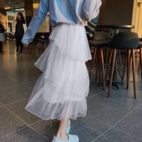 skirt Spring of 2019 S M L XL XXL Black white apricot Mid length dress Versatile High waist Cake skirt Solid color Type A More than 95% Vaylys / weilizi polyester fiber Flounce mesh stitching Polyester 100% Pure e-commerce (online only)