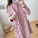 Nursing clothes Picture color M,L,XL You Li ma mi Socket autumn Long sleeves Medium length Korean version Dress Dot Side opening