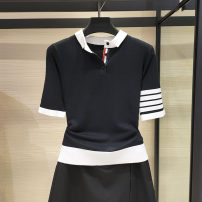 T-shirt black 2 / s, 3 / m, 4 / L, 5 / XL, 6 / XXL Autumn of 2019 Short sleeve Polo collar Self cultivation Regular routine commute cotton 96% and above Simplicity youth Santa Anastasia