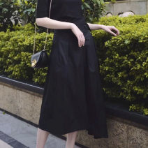 skirt Summer of 2019 black Mid length dress commute High waist Irregular Solid color Type A More than 95% other Santa Anastasia cotton