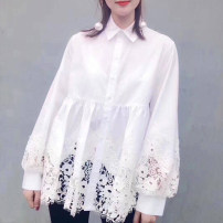 shirt white 2 / s, 3 / m, 4 / L, 5 / XL Summer of 2019 cotton 51% (inclusive) - 70% (inclusive) Long sleeves Sweet Regular Polo collar Single row multi button bishop sleeve Solid color 25-29 years old Straight cylinder Xgirdearst / heathy Gouhua hollow Ruili