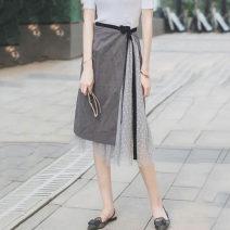 skirt Autumn of 2019 2 / s, 3 / m, 4 / L, 5 / XL grey Mid length dress Versatile High waist Pleated skirt 51% (inclusive) - 70% (inclusive) other Santa Anastasia other