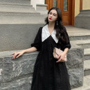 Dress Summer 2021 black XL (100-120 kg recommended), 2XL (120-140 kg recommended), 3XL (140-160 kg recommended), 4XL (160-180 kg recommended), 5XL (180-200 kg recommended) Mid length dress singleton  Short sleeve commute Doll Collar High waist Solid color Socket other puff sleeve Others Type A other