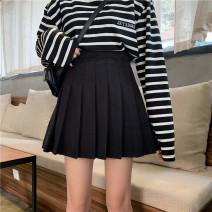 skirt Winter of 2019 M,L,XL,2XL,3XL,4XL black Short skirt Versatile High waist Pleated skirt Solid color Type A 18-24 years old