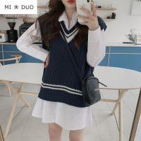 Fashion suit Autumn 2020 S,M,L,XL White dress, blue dress, Navy vest 18-25 years old 51% (inclusive) - 70% (inclusive)