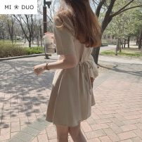 Dress Summer 2020 Apricot, white S,M,L,XL Short skirt singleton  Short sleeve commute V-neck Solid color other A-line skirt routine Others 18-24 years old Type A Other / other Korean version Lace up 51% (inclusive) - 70% (inclusive) other hemp