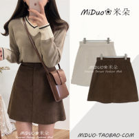 skirt Winter of 2018 S,M,L,XL Short skirt commute High waist A-line skirt Solid color Type A 18-24 years old 31% (inclusive) - 50% (inclusive) corduroy Other / other other zipper Korean version